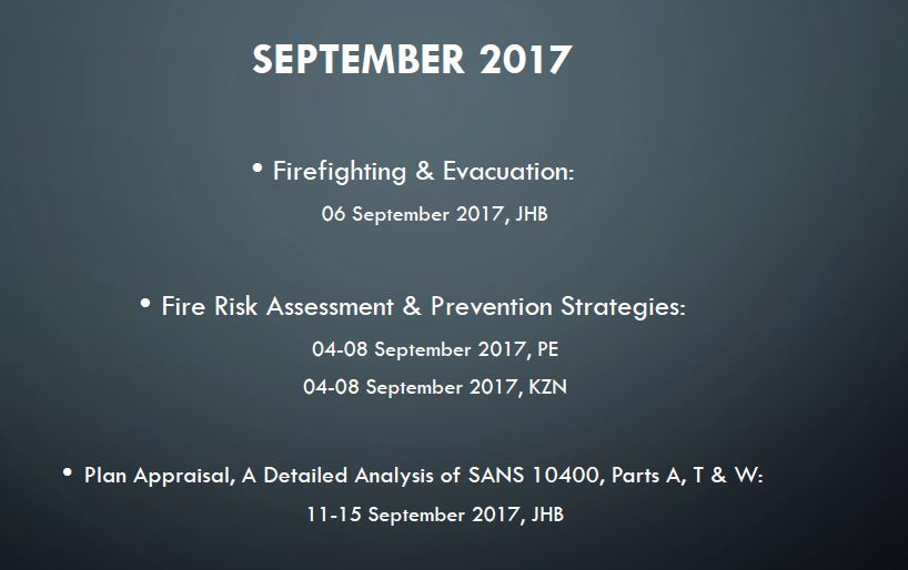 September 2017 Training Dates